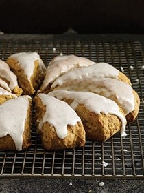 Pumpkin-obsessed vanilla-glazed scones