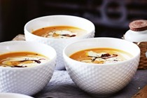 Pumpkin soup with caramelised onion