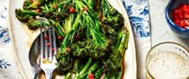 Purple sprouting broccoli in oyster sauce
