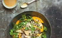 Quinoa, black lentil, mango and smoked chicken salad with korma dressing
