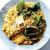 Quinoa risotto with grilled scapes and arugula