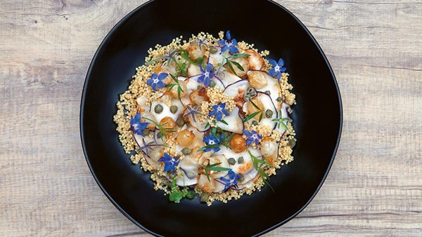 quinoa with kohlrabi and borage