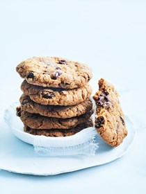 Raisin, oat and choc-chip cookies