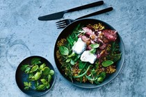 Rare beef & cool greens freekeh bowl
