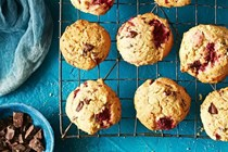 Raspberry and dark chocolate cookies