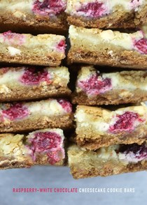 Raspberry white chocolate cheesecake cookie bars