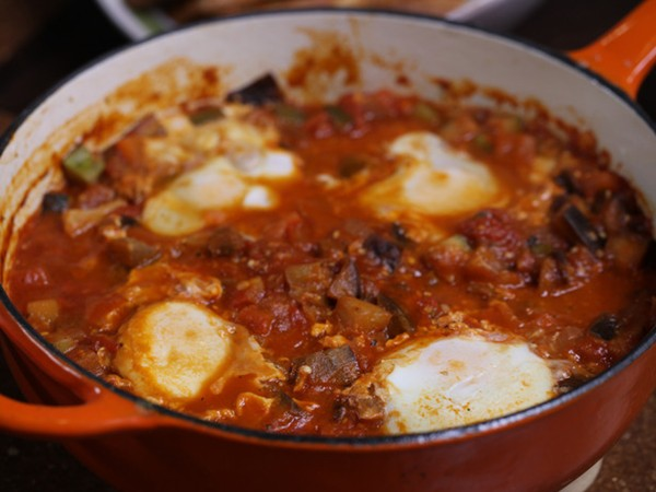 Ratatouille with poached eggs & garlic croutons