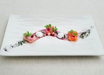 'Raw fish' – mixed sashimi with margarita mousse, wafers and Port reduction