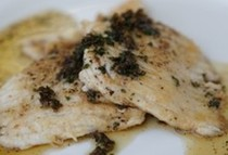 Ray with burnt butter and capers