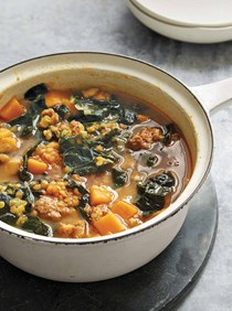 Red lentil soup with kale and chorizo