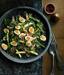 Red quinoa and quail egg salad