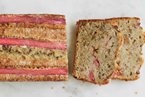 Rhubarb walnut quick bread