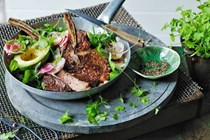 Rib-eye with tomato pesto butter & herb salad