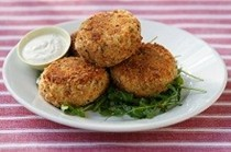 Ribaldo and sweet potato fish cakes with dill sauce