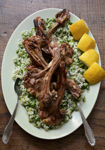 Rice with broad beans, herbs and lamb chops