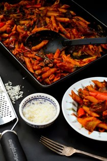 Rich tomato & roast vegetable pasta bake