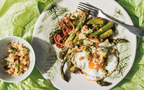 Roast asparagus with chorizo, garlicky crumbs and fried eggs