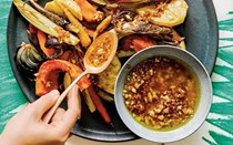 Roast autumn vegetables with warm walnut-miso sauce