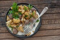Roast cauli with meatballs & tahini sauce