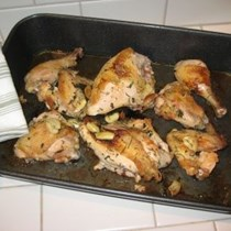 Roast chicken parts with olive oil or butter