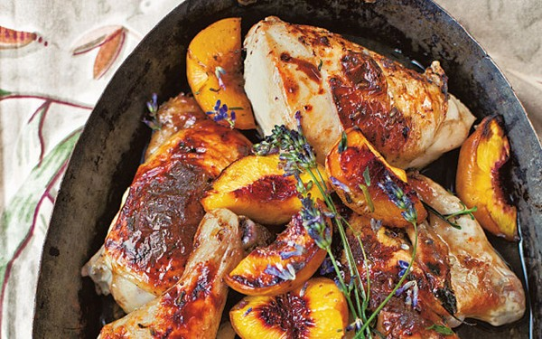 Roast chicken with peaches, honey and lavender