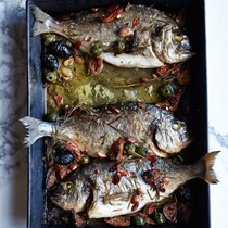 Roast dorade with figs, olives and almonds