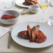 Roast duck with poached pears