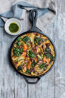 Roast fennel, squash, chorizo and basil frittata