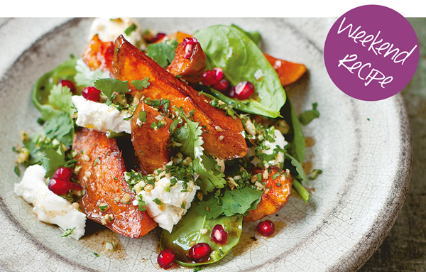 Roast pumpkin, labneh, walnut gremolata and pomegranates