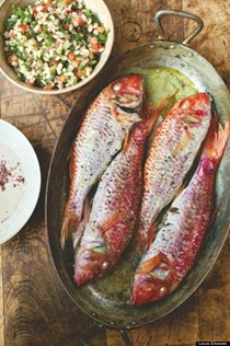 Roast red mullet with tahini dressing and barley tabbouleh