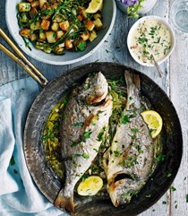 Roast sea bream with crunchy potatoes and samphire