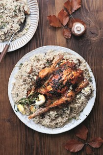 Roast tarragon chicken with mushroom risotto