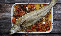 Roast tomatoes with fish, marjoram and garlic