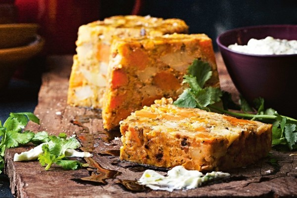 Roast vegetable & chickpea loaf with cucumber raita