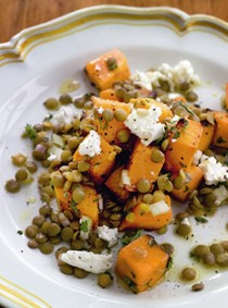 Roast winter squash salad with lentils and goat cheese