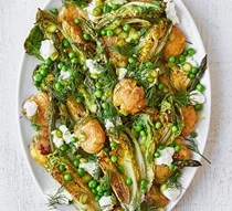 Roasted asparagus and smashed new potato salad