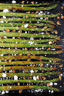 Roasted asparagus with lemon, feta, and pistachios