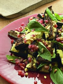 Roasted aubergine with saffron yoghurt