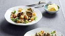 Roasted baby artichoke and cannellini bean panzanella with lemon-shallot dressing
