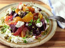 Roasted beet and citrus salad with ricotta and pistachio vinaigrette