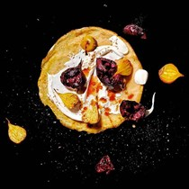 Roasted beet, yogurt, pomegranate molasses and toasted cumin seeds crepes