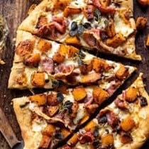 Roasted butternut squash prosciutto pizza with caramelized onions
