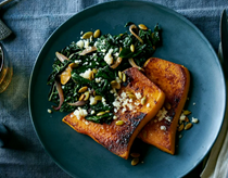 Roasted butternut squash with chorizo-spiced kale
