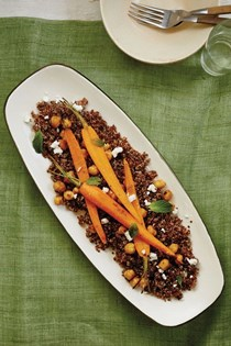Roasted carrot and chickpea salad over quinoa