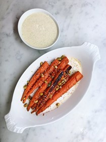 Roasted carrot salad with all-the-herbs yogurt