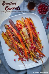 Roasted carrots with za'atar, pomegranate seeds and molasses