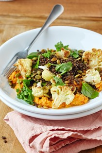 Roasted cauliflower & lentil bowl with sweet potato hummus