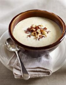 Roasted cauliflower and blue cheese soup
