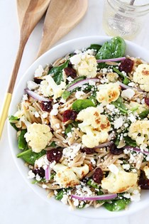 Roasted cauliflower, feta, and orzo salad