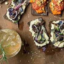 Roasted cauliflower flatbreads with celery root puree
